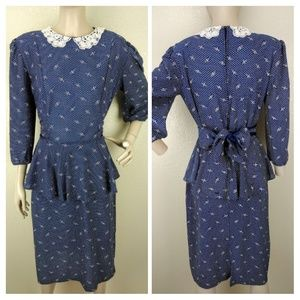 Vintage 70's Blue White Polkadot Wiggle Dress